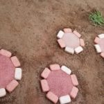 ミニレンガと固まる土で踏み石をDIY